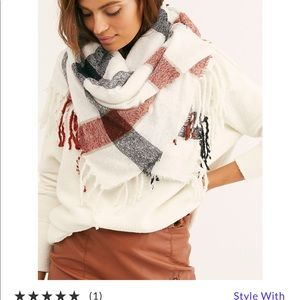 Free people valley plaid fringe scarf